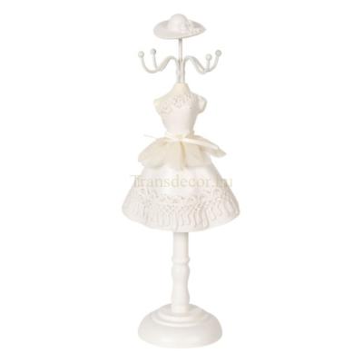 CLEEF.64474 Ékszertartó baba fehér hímzett ruhás 12x8x32cm, műanyag