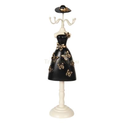 CLEEF.64469 Ékszertartó baba fekete ruhás arany pillangóval, 9x8x34cm, műanyag