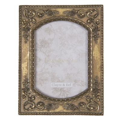 CLEEF.2F0690 Képkeret antikolt arany, indás, 15x20cm/10x15cm,műanyag