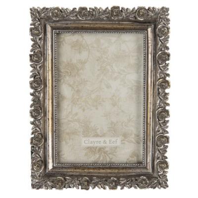 CLEEF.2F0701 Képkeret műanyag, 15x20/10x15cm, antik ezüstös rózsás