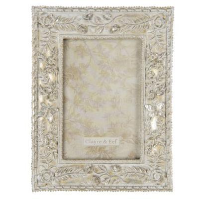 CLEEF.2F0709 Képkeret műanyag, 16x21/10x15cm, antik ezüst színű virágos, pillangós