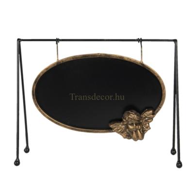 Fém felírótábla, antik arany angyaldísszel, 31x10x23cm