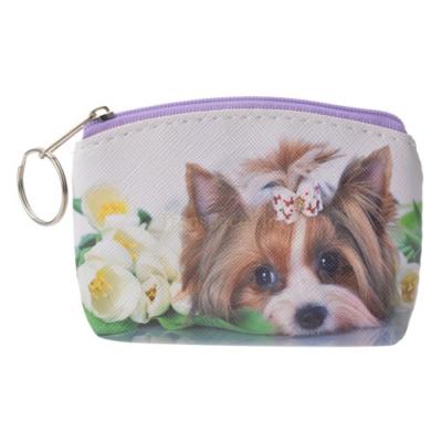 CLEEF.MLLLPU0025 Pénztárca kutya virággal 10x7cm,műanyag
