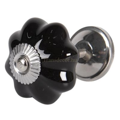 Clayre & Eef 64378 Ajtófogantyú gomb 4cm, kerámia, fekete