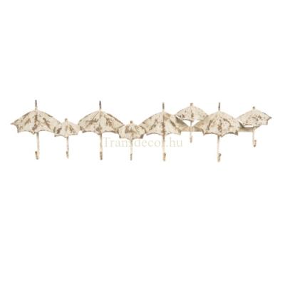 CLEEF.5Y0692 Fém falifogas esernyős, antikolt fehér, 86x8x20cm