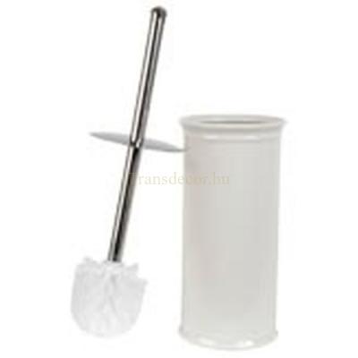 Clayre & Eef 60118 Fürdőszoba toalett kefe tartó, 11,5x11,5x24 cm, fehér