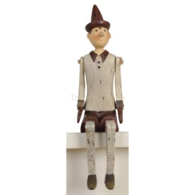 Clayre & Eef 6PR0051 Nosztalgikus pinokkio figura 12x8x30cm,fehér-bordó