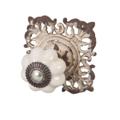 A.A.61937 Clayre & Eef Ajtófogantyú 6 x 6,5cm, fehér, fém díszes alátéttel