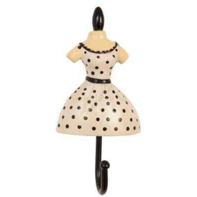 Clayre & Eef 60523 Fogas 10,5x5x3cm női ruhás, fehér-fekete pöttyös